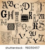 vintage alphabet   hand drawn...   Shutterstock .eps vector #98350457