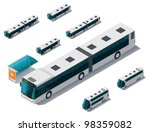 Vector isometric bus set - stock vector