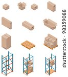 Vector boxes and shelving - stock vector