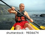 mature man kayaking in the... | Shutterstock . vector #9836674