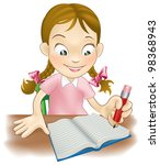 illustration of a young girl... | Shutterstock .eps vector #98368943