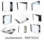 collection cd boxes with disc - stock photo
