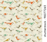Seamless vintage pattern with birds - stock vector
