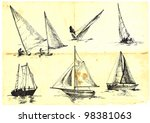 collection of sailing boats  ... | Shutterstock .eps vector #98381063