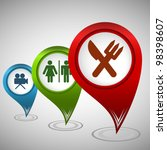 set of three map pointers with... | Shutterstock .eps vector #98398607
