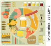Vintage Infographics set - Beer icons, Snack and elements for presentation and Graph - vector illustration - stock vector