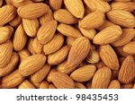 pile of almonds close up as... | Shutterstock . vector #98435453