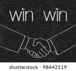 win win business with shake hands symbols written on blackboard background high resolution - stock photo
