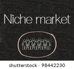 niche market with people symbols written on blackboard background high resolution - stock photo