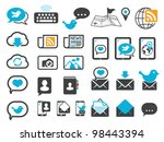 Modern communication icons, mail, chat and mobile - stock vector