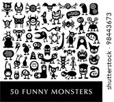 huge vector set of funny... | Shutterstock .eps vector #98443673