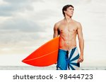 professional surfer holding a...   Shutterstock . vector #98444723