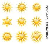 Yellow Sun Vector Icons...