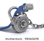 RJ45 Cable protected by conceptual padlock. Concept of protection of internet and ethernet crossover. - stock photo