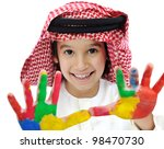 Arabic Muslim playful colorful child - stock photo