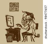 vector zombie in office | Shutterstock .eps vector #98477657