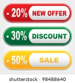 Set of colored banners - new offer - 20%, discount - 30%, sale - 50% - stock vector