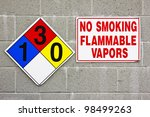 Transportation placard and warning sign on a brick wall. - stock photo
