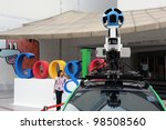 BANGKOK - MARCH 22: A Google Maps camera on view in central Bangkok as the internet giant announces the Thai capital has been added to its Street View utility on March 22, 2012 in Bangkok, Thailand. - stock photo