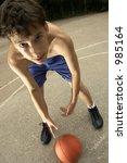 teen plays in basketball | Shutterstock . vector #985164