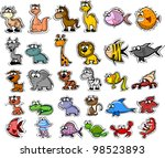 big set of cartoon animals and... | Shutterstock .eps vector #98523893