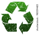 Green three-arrow recycle symbol with grunge effect - stock photo