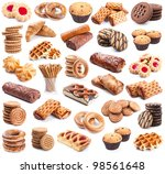 Pastry collection isolated on white background - stock photo