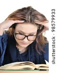 tired student reads a book ... | Shutterstock . vector #98579933
