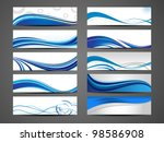 Vector illustration of banners or website headers with abstract wave forms in blue color. EPS 10. - stock vector