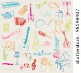 set of music instruments   hand ... | Shutterstock .eps vector #98598407