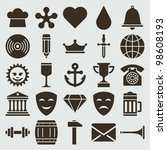 vintage retro icons set. vector ... | Shutterstock .eps vector #98608193