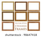Vector wooden frame set. - stock vector