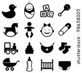 Baby icon set in black - stock vector