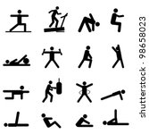 Fitness and exercise icon set in black - stock vector