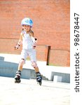 rollerblading  smiling 5 year... | Shutterstock . vector #98678447