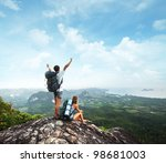 young tourists with backpacks... | Shutterstock . vector #98681003