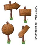 set of wooden road signs | Shutterstock . vector #98698697