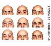 many half faces eyes expressions on white background - stock photo