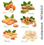 almond,assortment,background,brown,closeup,diet,eat,fiber,filbert,flavor,food,fresh,green,hard,hazel