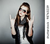 teen girl rock - stock photo