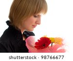 Woman with flower gerbera isolated on white - stock photo