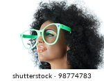 Small photo of Woman with curly hair and big clown glasses
