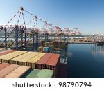 Cargo ship, Durban / South African ports - stock photo
