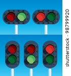 Railway Traffic Lights. Vector illustration. - stock vector