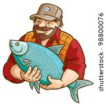 Fisherman With Fish. Vector illustration. - stock vector