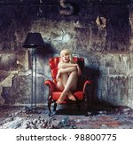 young naked women, sitting in red vintage armchair (Photo and hand-drawing elements combined) - stock photo