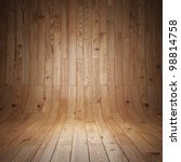 Laminate wood texture. Wood panels used as background. Room covered with wooden planks. Wooden walls and floor. - stock photo