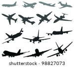 silhouettes of aircraft 3 ... | Shutterstock .eps vector #98827073