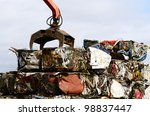 Large blocks of low grade steel at a metal recycle scrap yard - stock photo