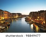 Grand Canal after sunset. Venice - Italy - stock photo